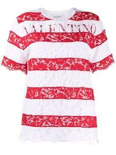 Valentino футболка в полоску с логотипом