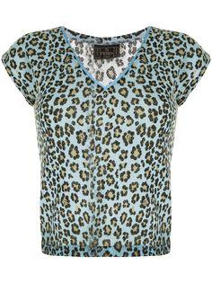 Fendi Pre-Owned футболка с V-образным вырезом и леопардовым принтом