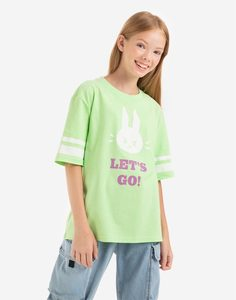 Зелёная футболка oversize с принтом Let`s go для девочки Gloria Jeans