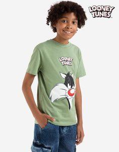 Хаки футболка с принтом LOONEY TUNES для мальчика Gloria Jeans
