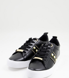 Черные кроссовки для широкой стопы c искусственным жемчугом Miss KG-Черный цвет