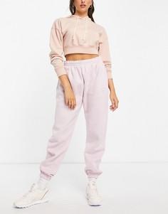 Пастельно-розовые флисовые джоггеры Reebok-Розовый цвет