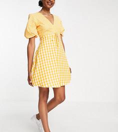 Желтое чайное платье мини в клетку Influence Tall-Желтый