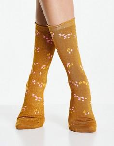 Коричневые носки Selected Femme-Коричневый цвет