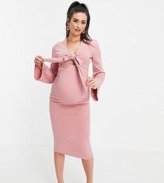 Розовое платье с глубоким вырезом и рукавами-кимоно ASOS DESIGN Maternity-Multi