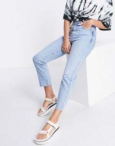 Прямые выбеленные джинсы Topshop-Голубой