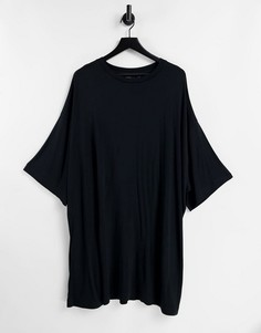 Черная удлиненная oversized-футболка из вискозы ASOS DESIGN-Черный цвет