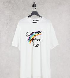 """Белая футболка с надписью """"Everyone Deserves Love"""" Missguided Plus-Белый"""