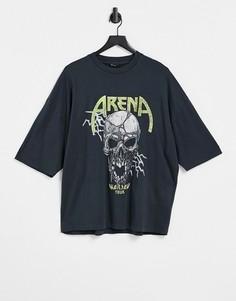 Черная выбеленная футболка в стиле oversized из органического хлопка с принтом в виде черепа спереди и сзади ASOS DESIGN-Серый