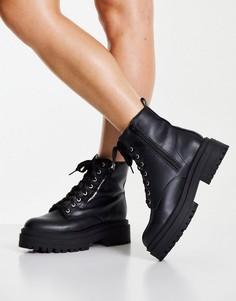 Черные ботинки на шнуровке и молнии с толстой подошвой New Look-Черный цвет
