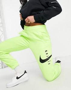 Зеленые джоггеры с логотипом-галочкой Nike-Зеленый цвет