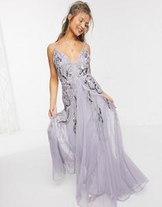 Платье макси лавандового цвета с цветочной вышивкой ASOS DESIGN-Фиолетовый цвет
