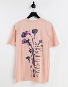 Розовая футболка с цветочным принтом и логотипом на спине Mennace-Розовый цвет