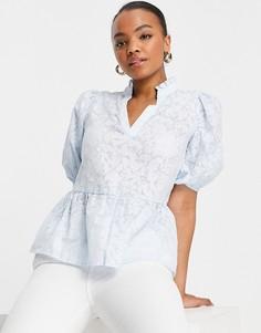 Светло-голубая блузка с рукавами-фонариками Selected Femme-Серый
