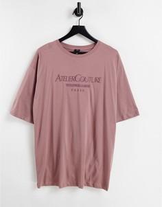 """Коричневая футболка в стиле oversized с надписью """"Atelier Couture"""" River Island-Коричневый цвет"""