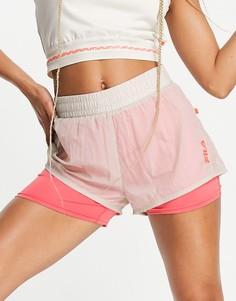Спортивные шорты со вставкой с логотипом бежевого и розового цветов Fila-Белый
