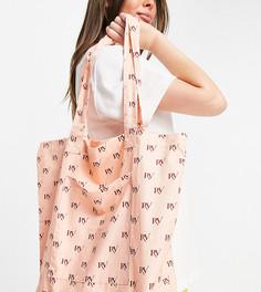 Розовая парусиновая сумка-тоут с монограммами по всей поверхности Reclaimed Vintage Inspired-Розовый цвет