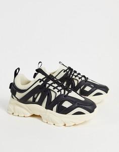 Бежевые кроссовки с черной отделкой на толстой подошве ASOS DESIGN Dazed-Светло-бежевый цвет