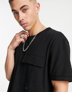 Черная oversized-футболка в утилитарном стиле с карманом Topman-Черный цвет