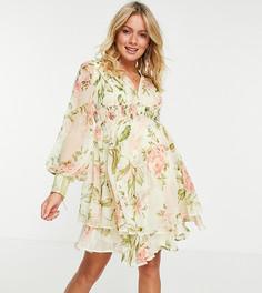 Украшенное искусственным жемчугом платье мини на пуговицах с оборками, разрезами на юбке и с цветочным принтом ASOS DESIGN Maternity-Белый