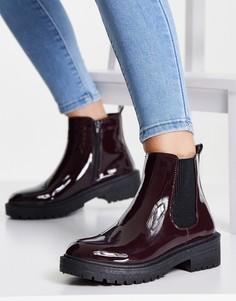 Красные лакированные ботинки челси на толстой подошве New Look-Красный