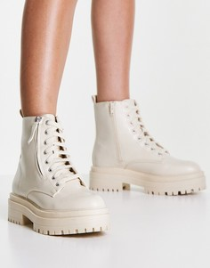 Белые ботинки на толстой подошве со шнуровкой и молниями New Look-Белый