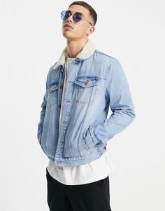 Синяя джинсовая куртка с воротником из искусственного меха River Island-Голубой