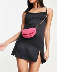 Темно-розовая сумка через плечо с имитацией кожи крокодила French Connection-Красный