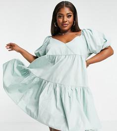 Хлопковое ярусное платье мини свободного кроя и светло-зеленого цвета ASOS DESIGN Curve-Зеленый цвет