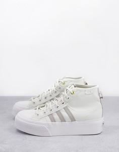 Бело-серые высокие кроссовки на платформе adidas Originals Nizza-Белый