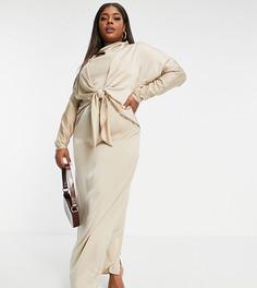 Платье макси с рукавами «летучая мышь» и завязкой спереди ASOS DESIGN Curve-Серый