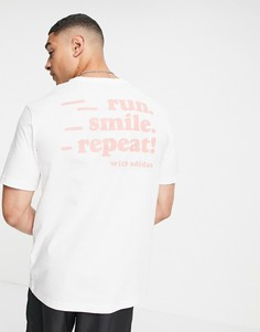 "Белая футболка с принтом ""Run Smile Repeat"" на спине adidas Running-Белый"