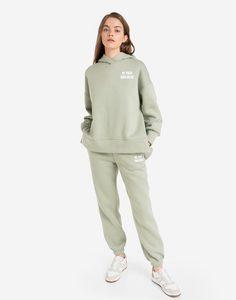 Зелёные спортивные брюки Baggy с надписью Gloria Jeans