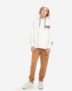 Коричневые спортивные брюки с принтом и карманами-карго для мальчика Gloria Jeans