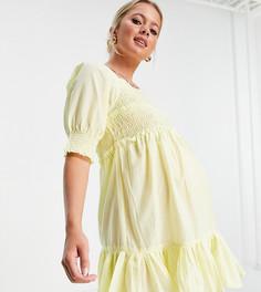 Присборенное платье мини лимонно-желтого цвета с расклешенной юбкой, квадратным вырезом и необработанным краем ASOS DESIGN Maternity-Желтый