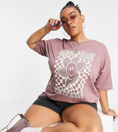 Коричневая oversized-футболка с принтом Take It Easy ASOS DESIGN Curve-Коричневый цвет