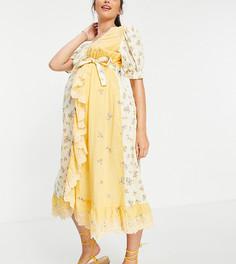 Платье миди с запахом, вышивкой и смешанным цветочным принтом ASOS DESIGN Maternity-Разноцветный