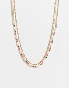 Золотистое многоярусное ожерелье-чокер с бусинами Topshop-Золотистый