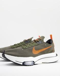 Кроссовки цвета хаки с оранжевыми вставками Nike Zoom-Type SE-Зеленый цвет