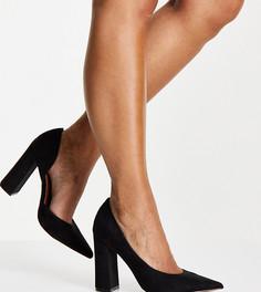 Черные туфли на высоком каблуке для широкой стопы ASOS DESIGN Waiter Dorsay-Черный цвет