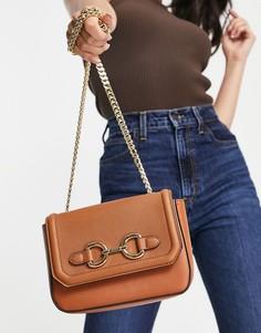 Коричневая сумка через плечо с трензелем и ремешком-цепочкой ALDO Flojo-Коричневый цвет