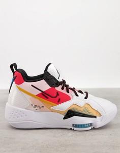 Белые кроссовки с разноцветными вставками Jordan Zoom 92-Многоцветный