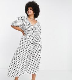 Присборенное чайное платье миди с принтом в черно-белый горошек ASOS DESIGN Curve-Разноцветный
