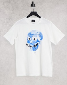 Белая футболка с черепом с цветочным принтом PS Paul Smith-Белый