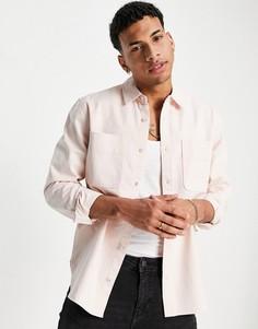 Розовая рубашка навыпуск с двумя карманами Topman-Розовый цвет