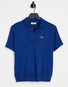 Синяя футболка-поло в стиле oversized Lacoste-Голубой