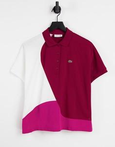 Розовая футболка-поло в стиле колор блок Lacoste-Розовый цвет