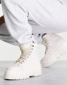 Белые ботинки на шнуровке в стиле походных на толстой подошве ASOS DESIGN Anastasia-Белый