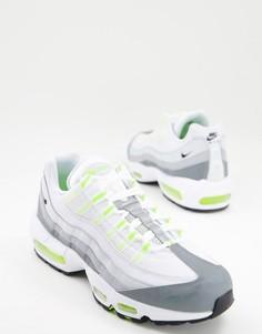 Серые кроссовки с лаймовой отделкой Nike Air Max 95-Серый