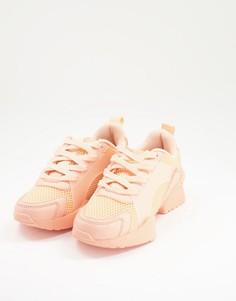 Кроссовки из сетки персикового цвета на шнуровке ASOS DESIGN Direction-Розовый цвет